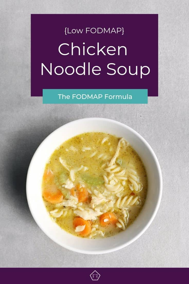 Low FODMAP chicken noodle soup in bowl - Pinterest 1