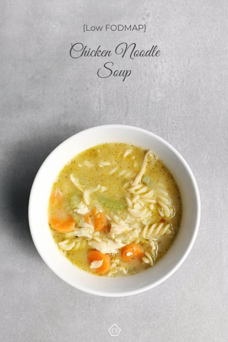 Low FODMAP chicken noodle soup in bowl - Pinterest 2