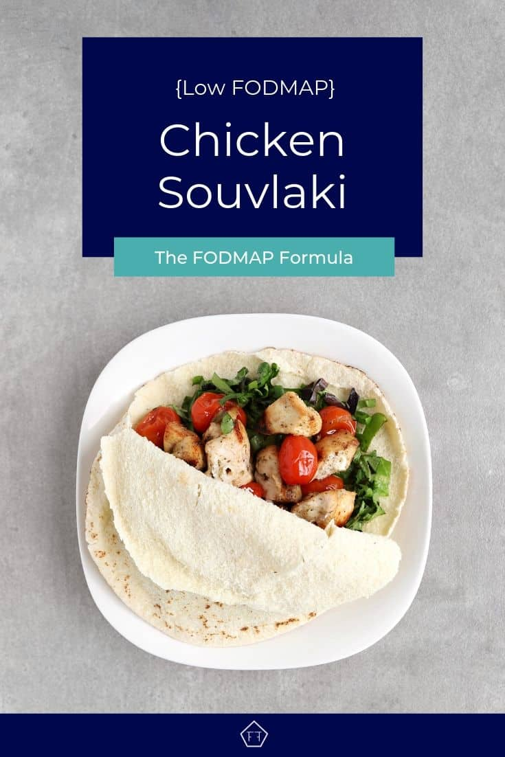Open Low FODMAP Chicken Souvlaki on plate - Pinterest 3