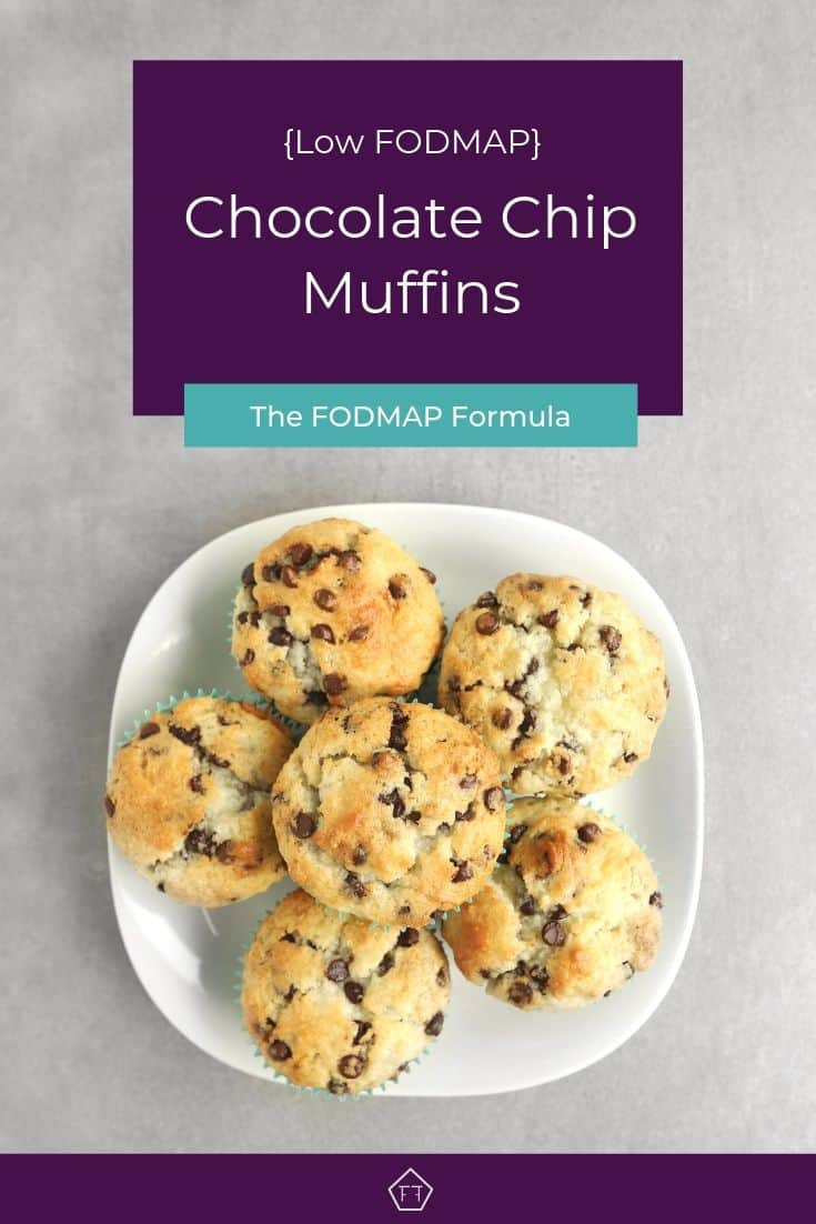 Low FODMAP Chocolate Chip Muffins on Plate - Pinterest 2