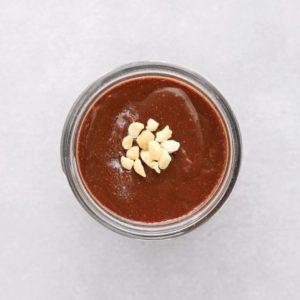 Low FODMAP hazelnut spread in glass jar