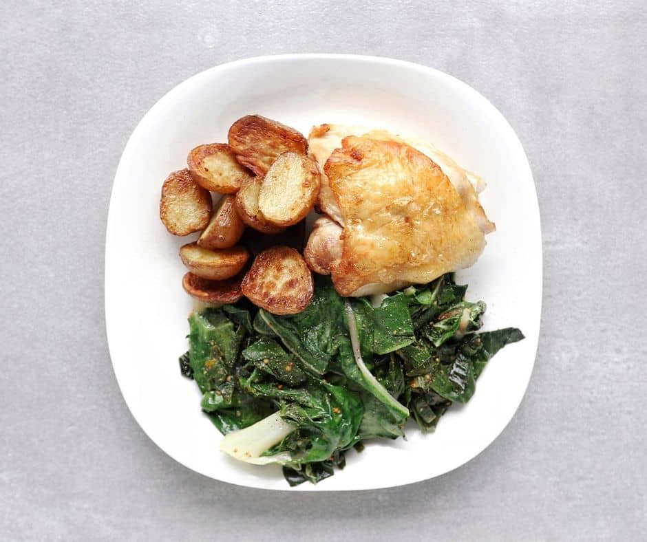 Low FODMAP crispy chicken thighs with roasted potatoes Swiss chard - 940 x 788