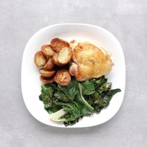 Low FODMAP crispy chicken thighs with roasted potatoes Swiss chard - Feature Image