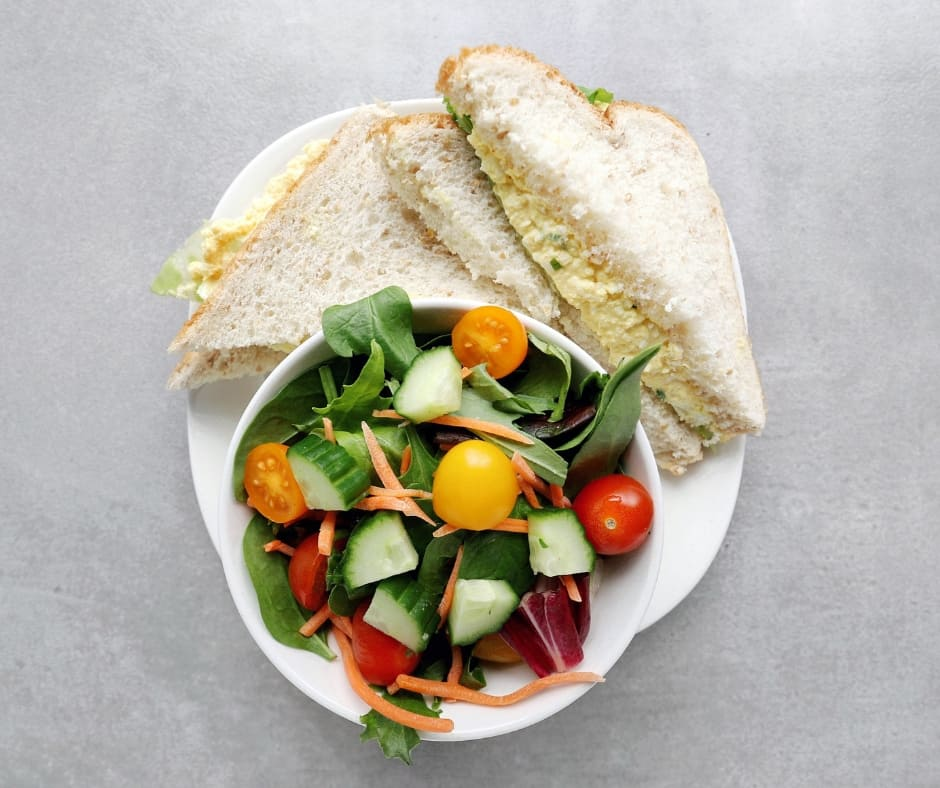 Low FODMAP Egg Salad Sandwich with garden salad - Facebook Post
