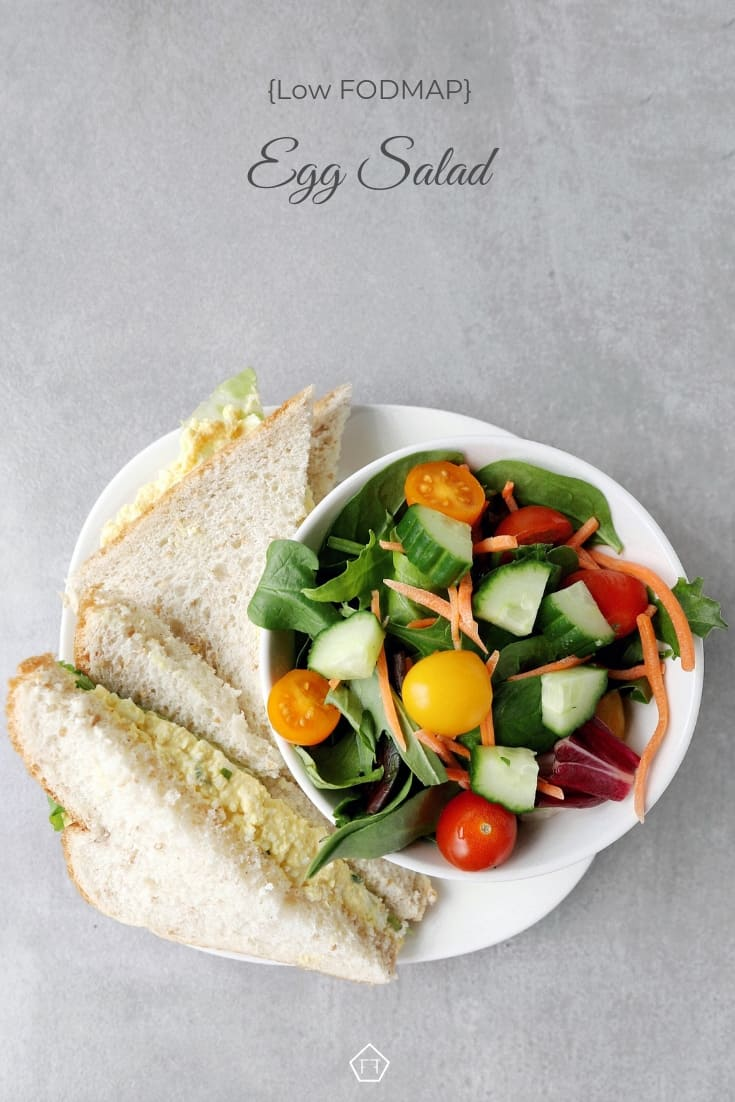Low FODMAP Egg Salad Sandwich with garden salad - Pinterest 1