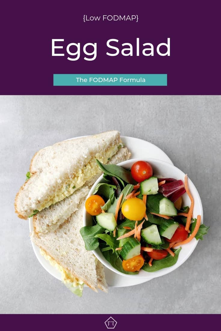Low FODMAP Egg Salad Sandwich with garden salad - Pinterest 4