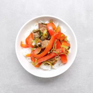 Low FODMAP Fajita Stir Fry in bowl