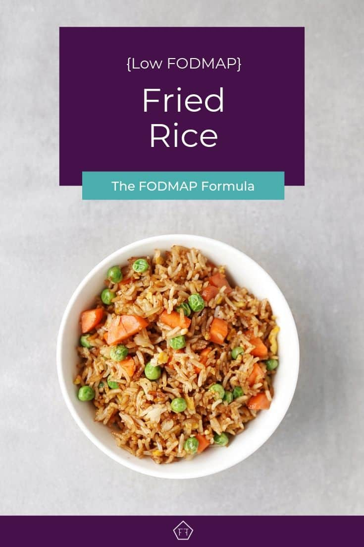 Low FODMAP fried rice with peas and carrots in bowl - Pinterest 1