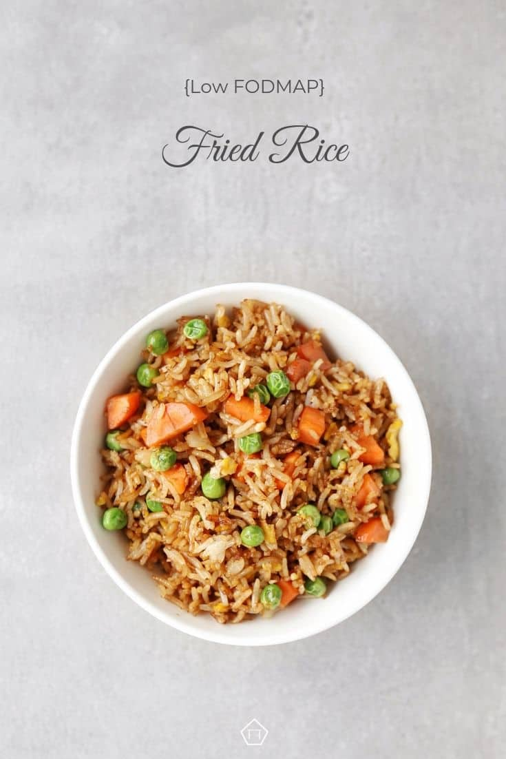 Low FODMAP fried rice with peas and carrots in bowl - Pinterest 3