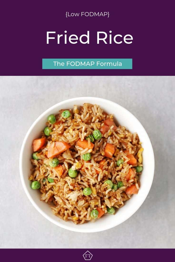 Low FODMAP fried rice with peas and carrots in bowl - Pinterest 4