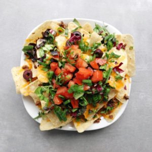 Low FODMAP Fully Loaded Nachos on Plate - 800 x 800