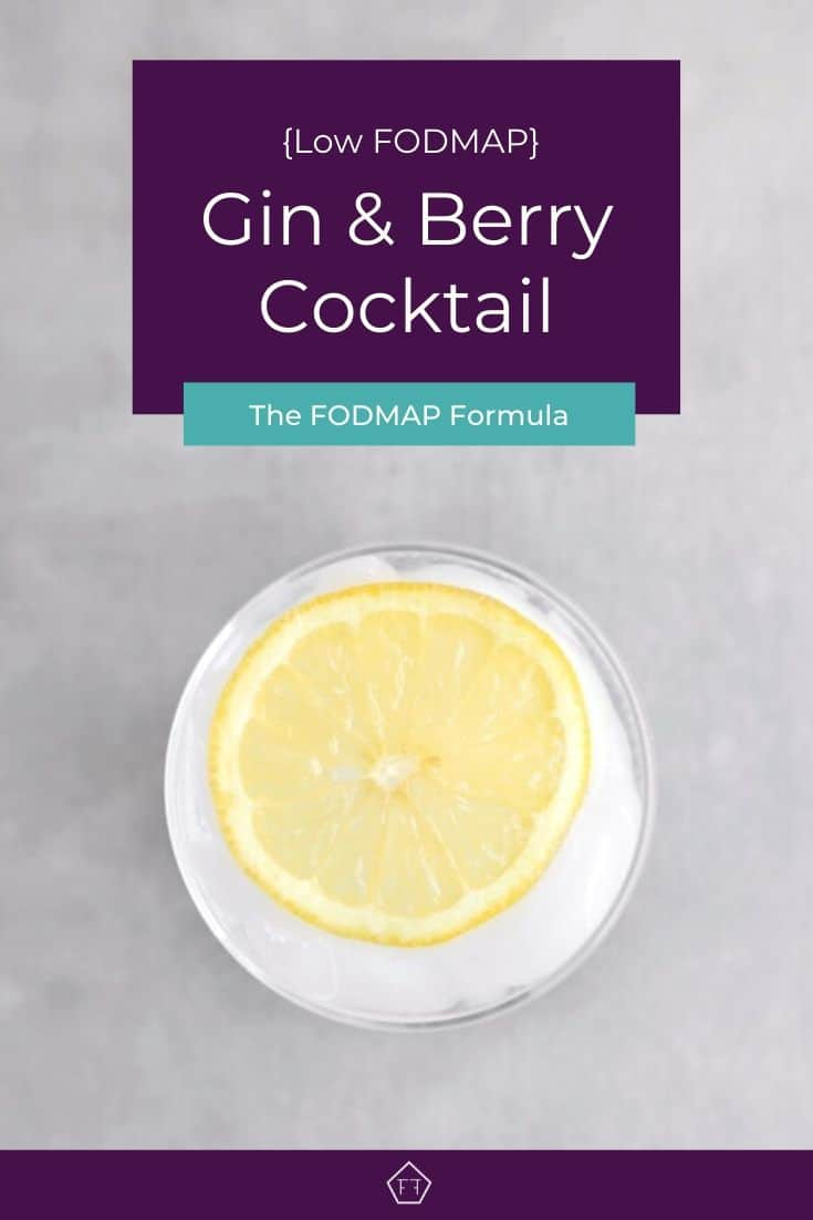 Low FODMAP Gin and Berry Cocktail with lemon wheel