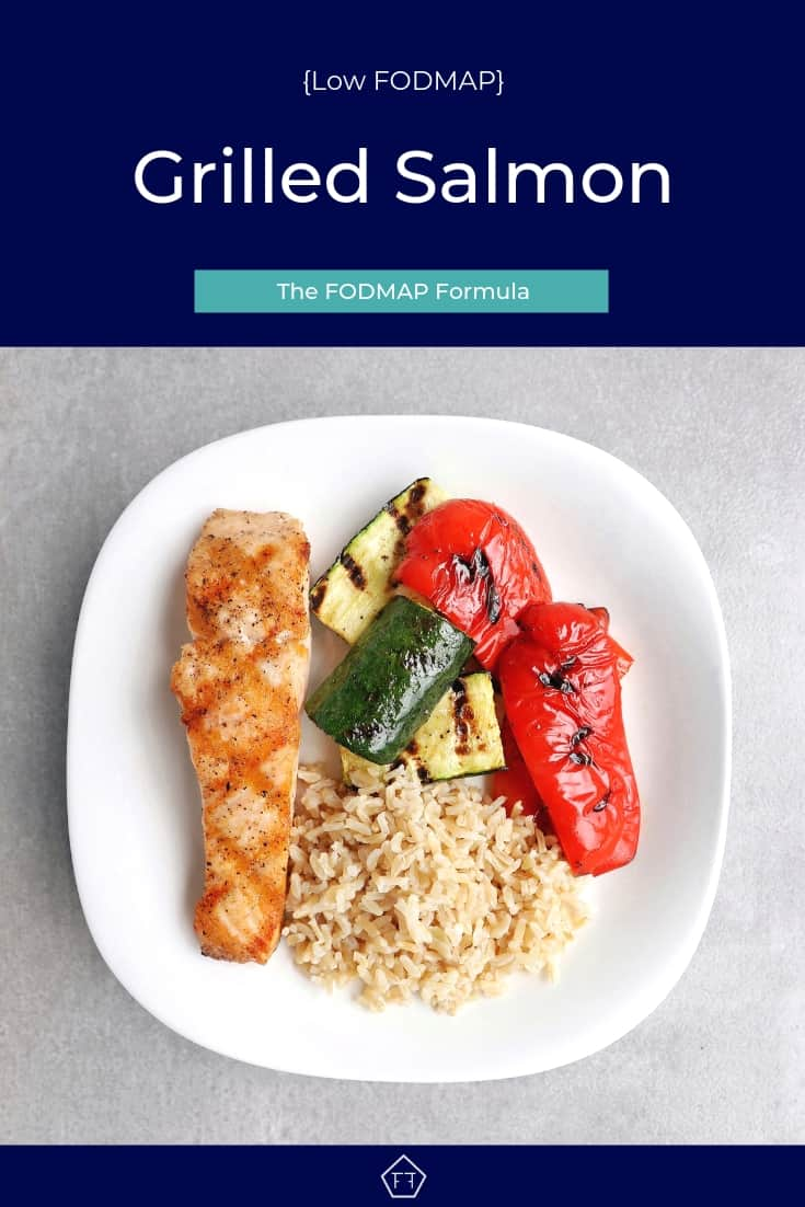 Low FODMAP grilled salmon with vegetables and rice on plate