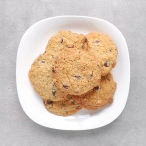Low FODMAP hazelnut cookies on plate - 800 x 800