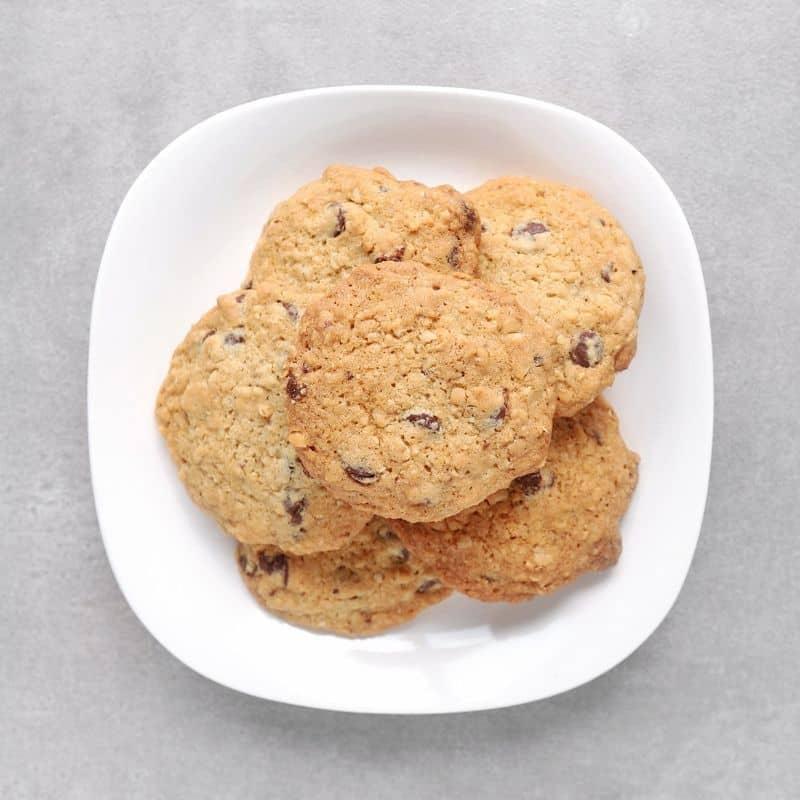 Low FODMAP hazelnut cookies on plate - 800 x 800