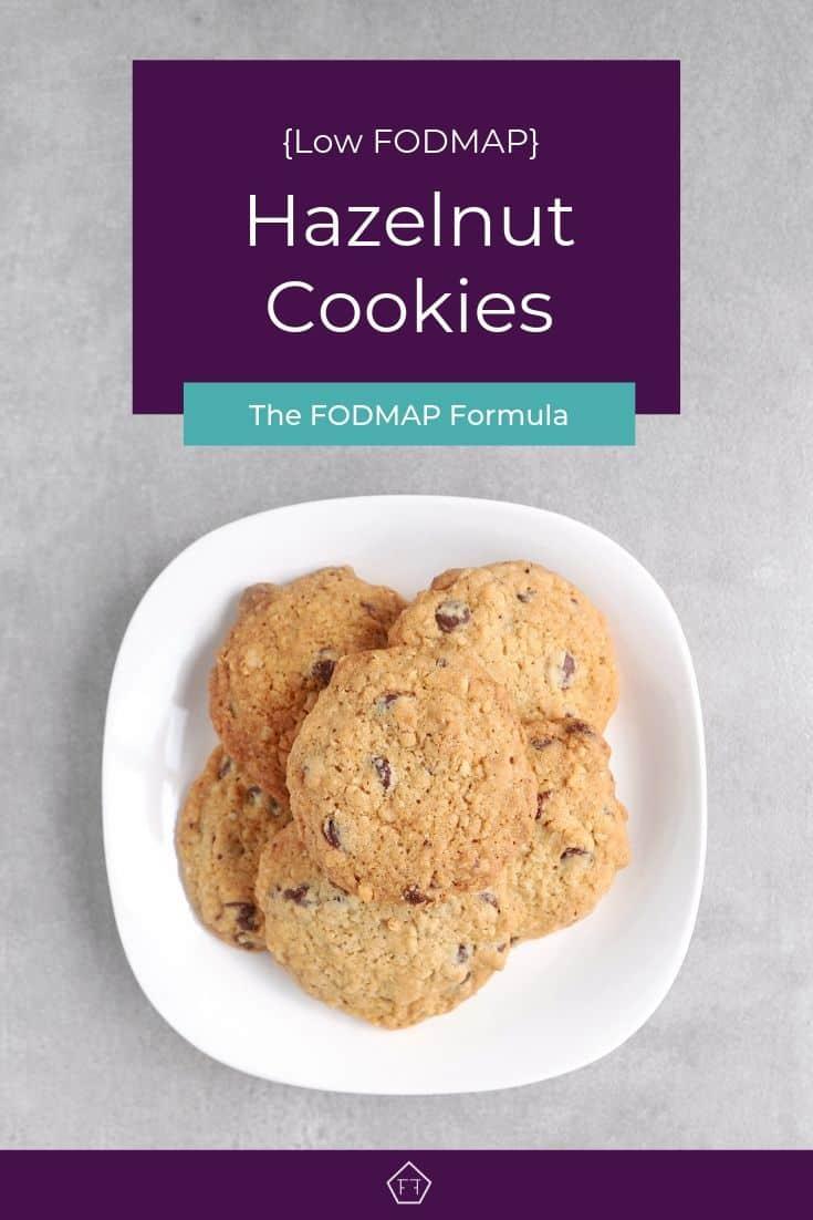 Low FODMAP hazelnut cookies on plate - Pinterest 2