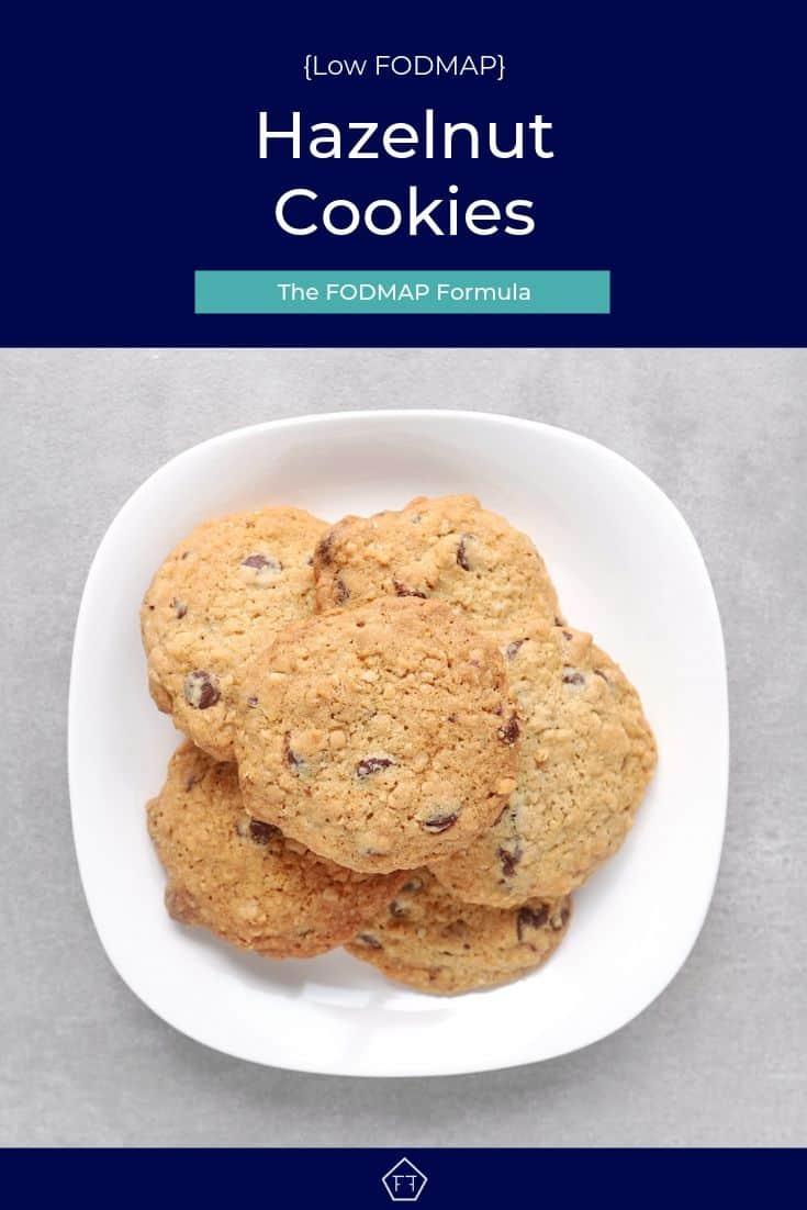 Low FODMAP hazelnut cookies on plate - Pinterest 3