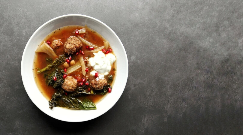 Low FODMAP Lamb Meatball Stew in bowl 810 x 450