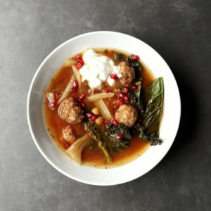 Low FODMAP Lamb Meatball Stew in bowl 800 x 800