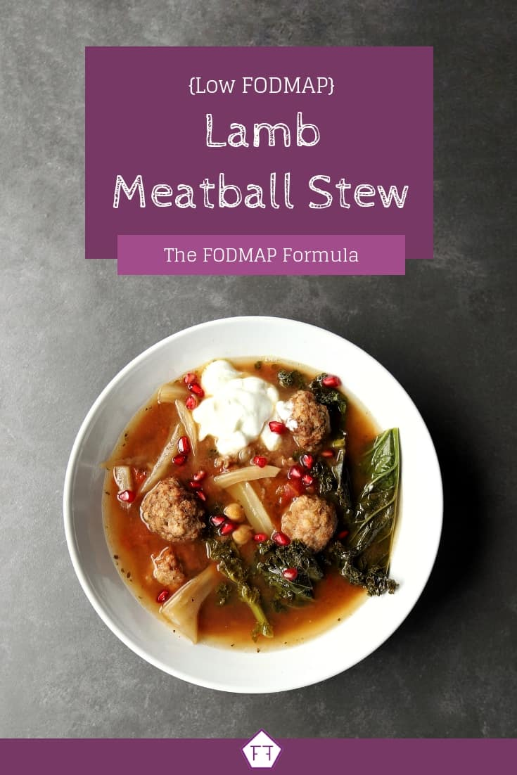 Low FODMAP Lamb Meatball Stew in bowl with text overlay (2)