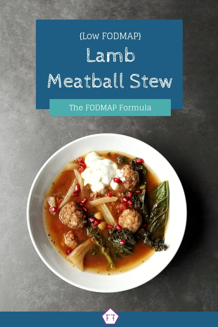 Low FODMAP Lamb Meatball Stew in bowl with text overlay (1)