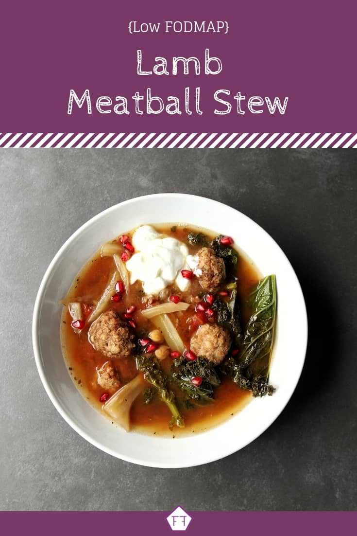 Low FODMAP Lamb Meatball Stew in bowl with text overlay (3)