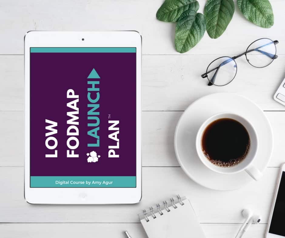 iPad on table with text overlay: Low FODMAP Launch Plan 940 x 788