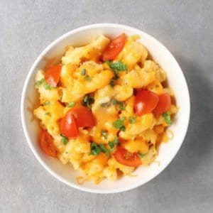 Low FODMAP macaroni and cheese in small bowl - 800 x 800