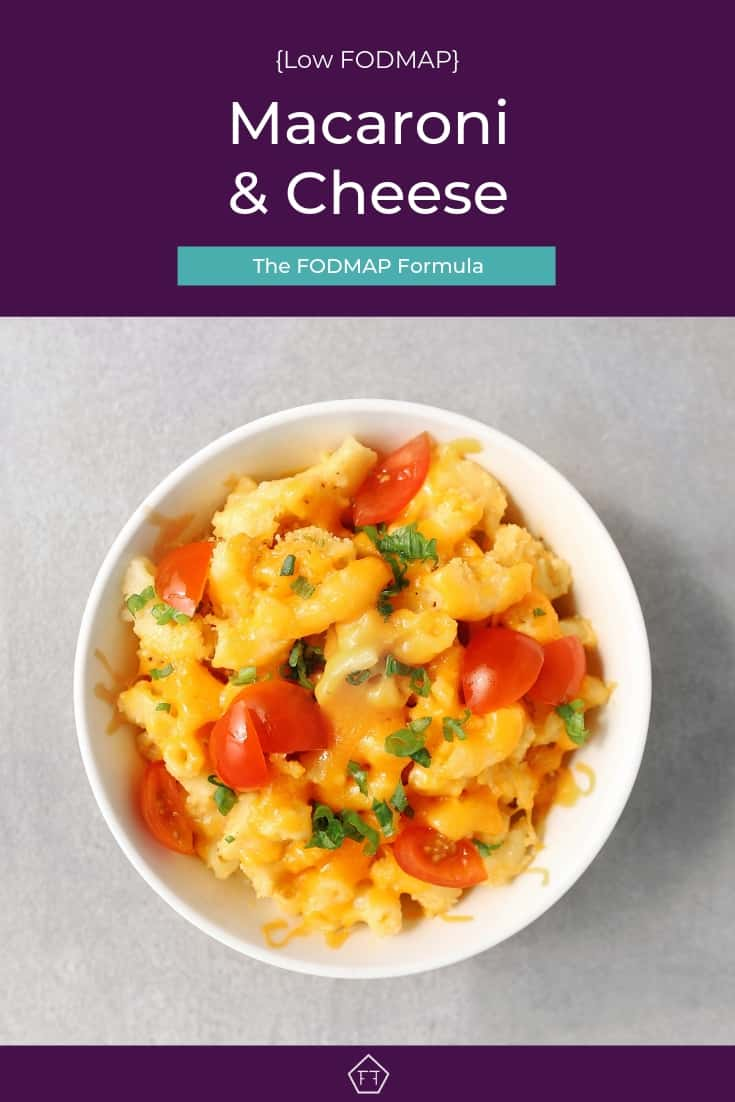 Low FODMAP macaroni and cheese in small bowl - Pinterest 2