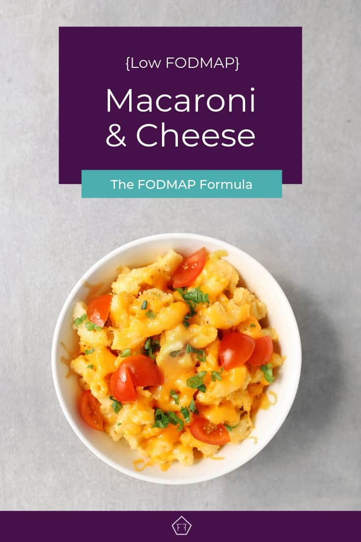 Low FODMAP macaroni and cheese in small bowl - Pinterest 4