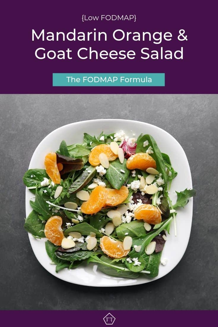 Low FODMAP mandarin orange salad with almonds on plate - Pinterest 1