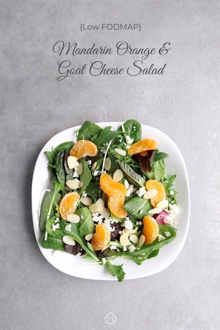 Low FODMAP mandarin orange salad with almonds on plate - Pinterest 2