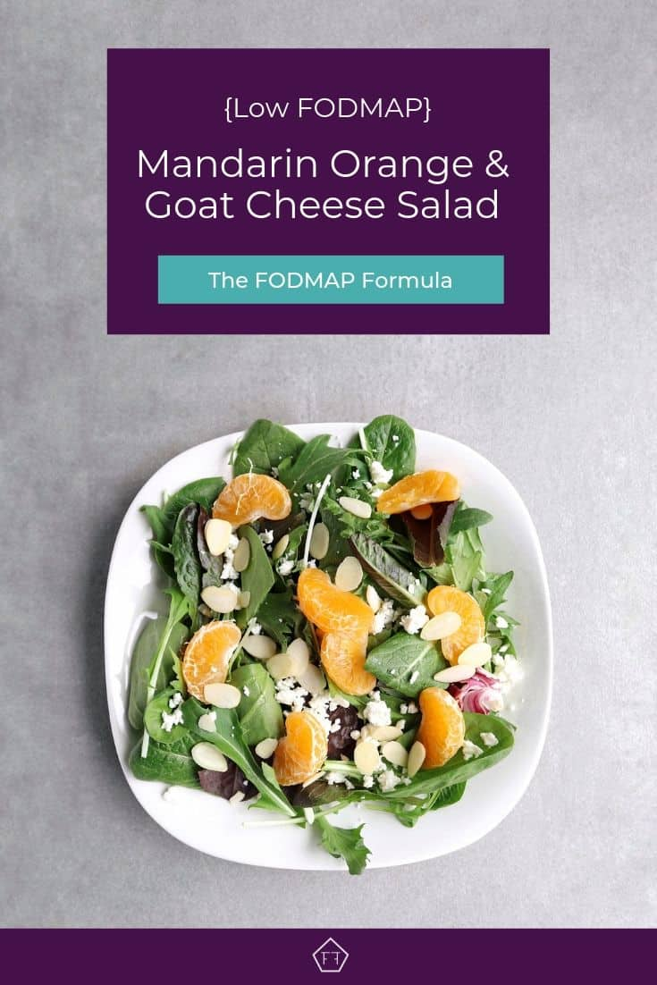 Low FODMAP mandarin orange salad with almonds on plate - Pinterest 3