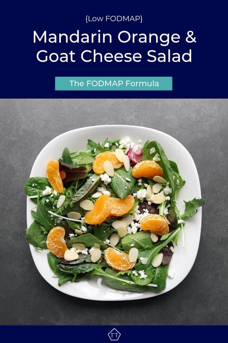 Low FODMAP mandarin orange salad with almonds on plate - Pinterest 4