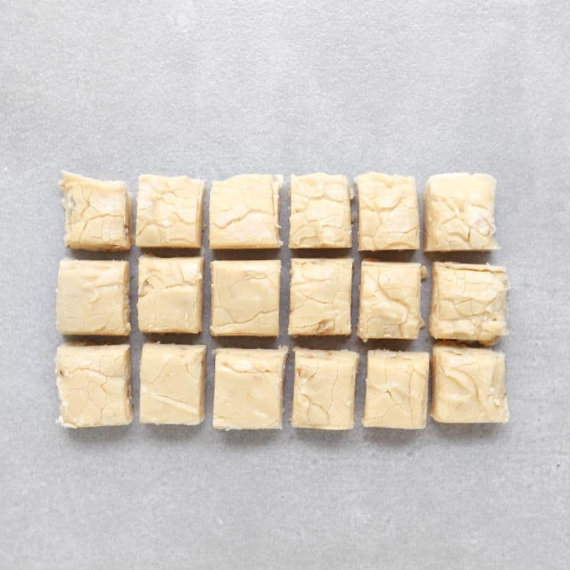Low FODMAP maple whisky fudge squares on grey tile