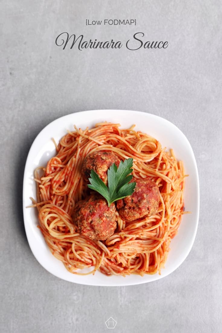 Low FODMAP marinara sauce with meatballs -