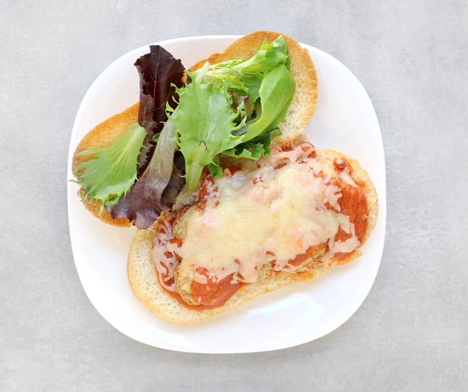 Low fodmap meatball sub on white plate