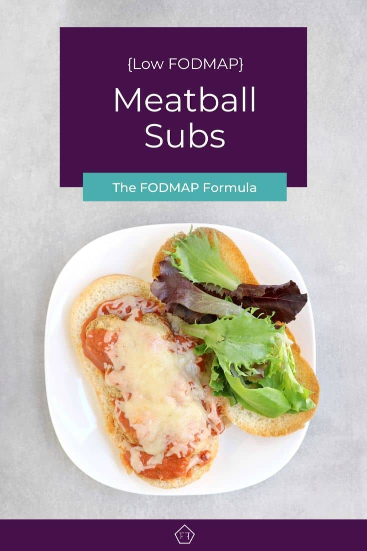 Low fodmap meatball sub on white plate with text overlay: Low FODMAP Meatball Subs
