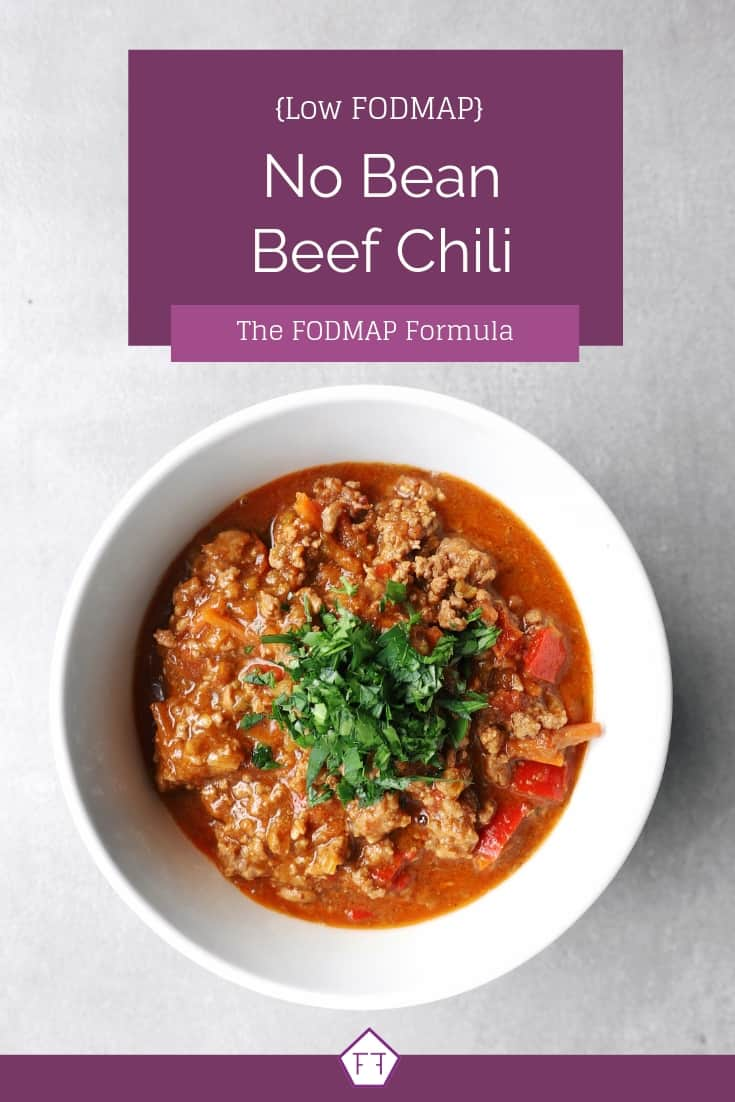 Low FODMAP no bean chili in bowl - Pinterest 1