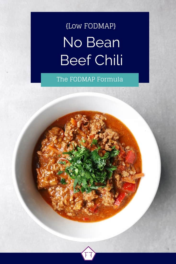 Low FODMAP no bean chili in bowl - Pinterest 4