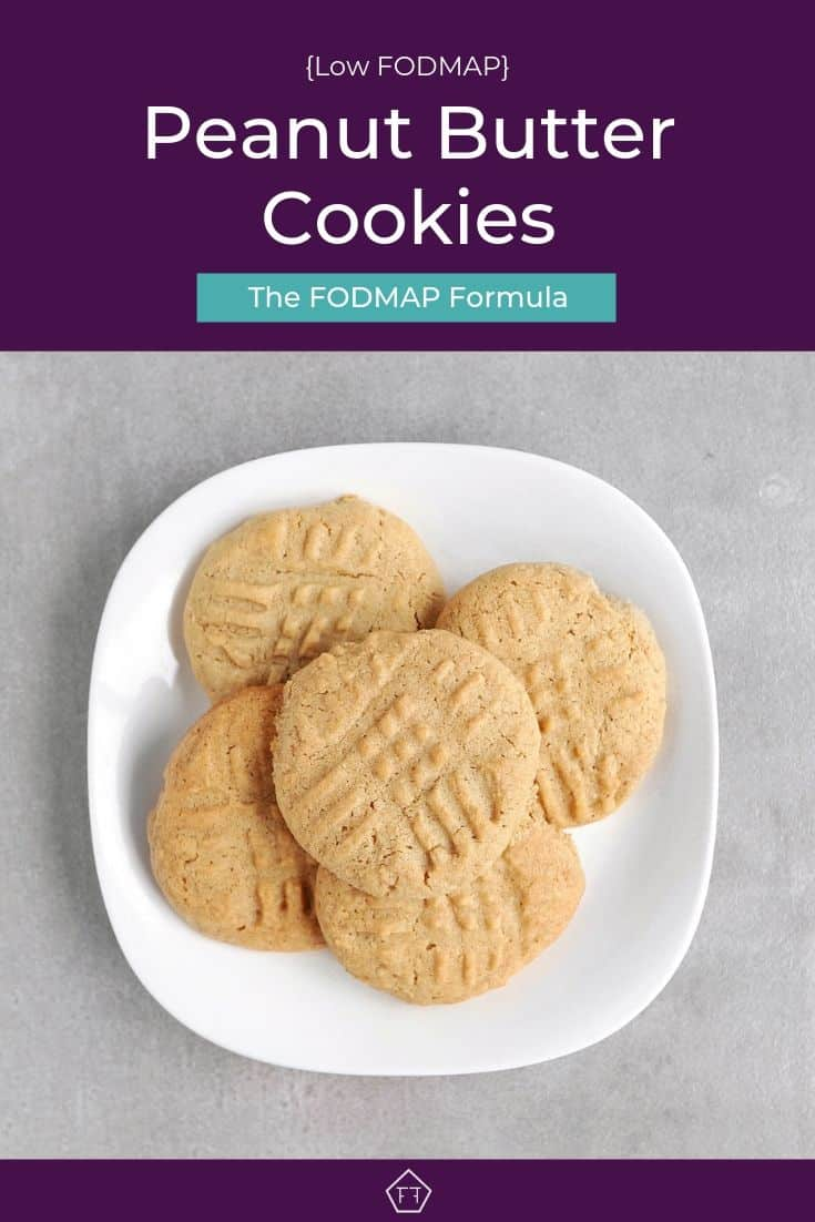Low FODMAP peanut butter cookies piled on plate - Pinterest 3