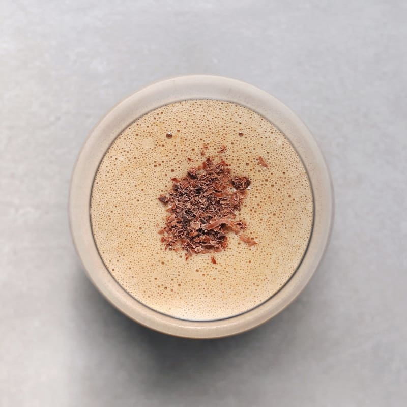 Low FODMAP Peanut Butter Smoothie in Glass - 800 x 800