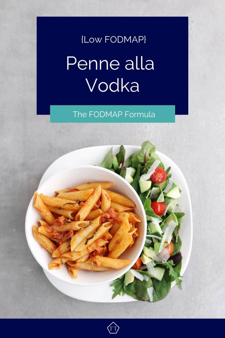 Low FODMAP penne alla vodka on plate with side salad - Pinterest 2