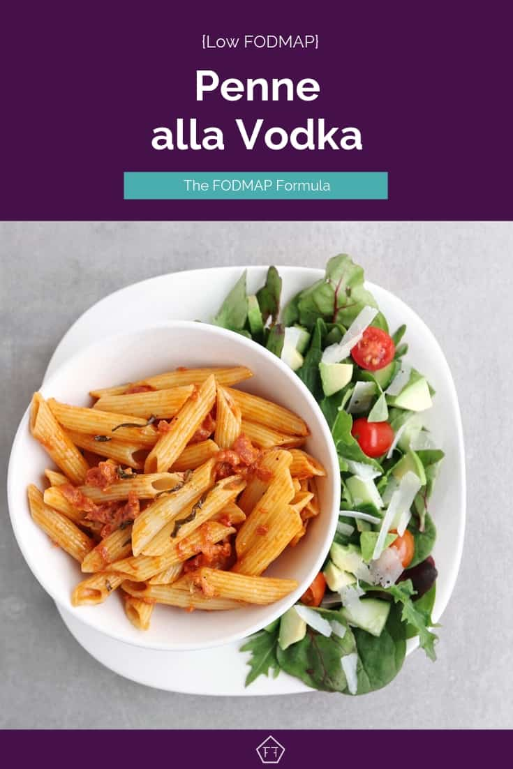 Low FODMAP penne alla vodka on plate with side salad - Pinterest 3