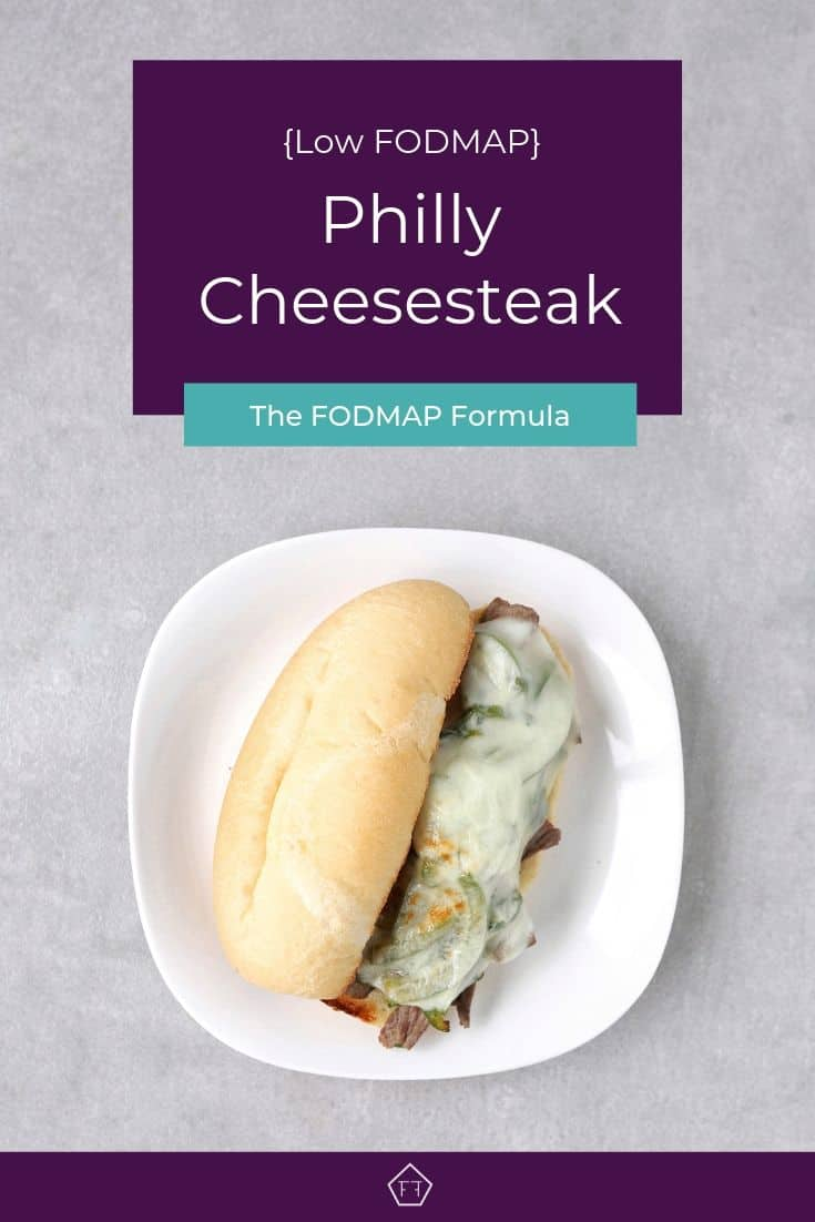 Low FODMAP Philly cheesesteak sandwich on plate - Pinterest 1