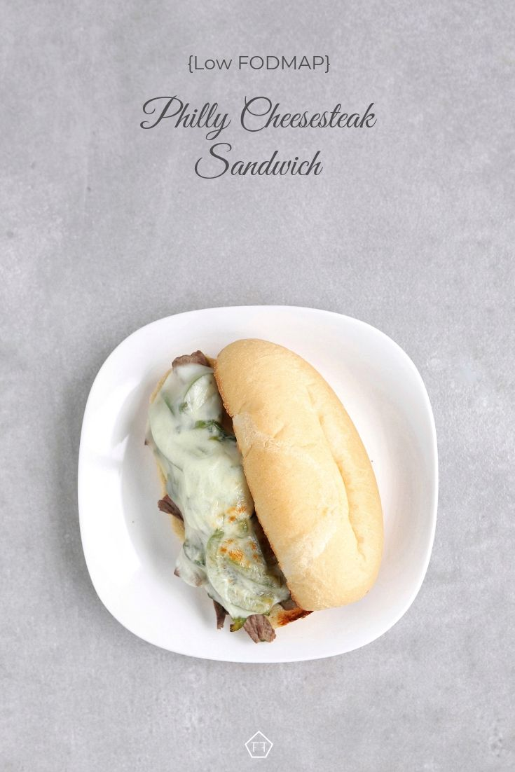 Low FODMAP Philly cheesesteak sandwich on plate - Pinterest 2