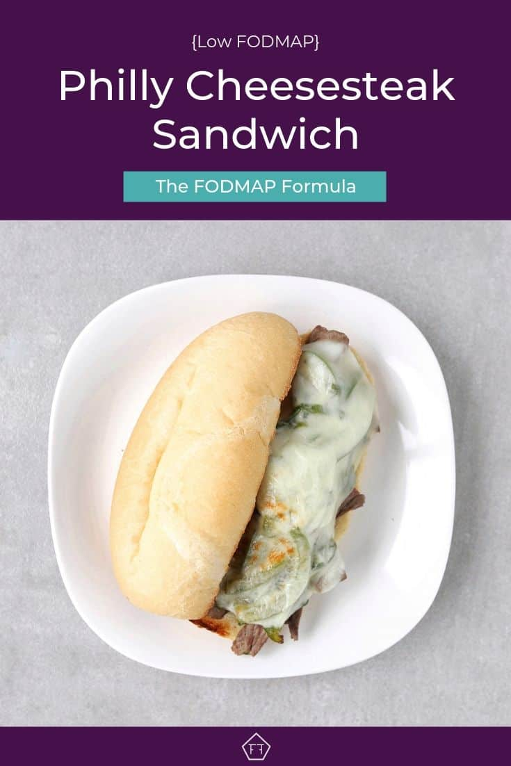 Low FODMAP Philly cheesesteak sandwich on plate - Pinterest 3