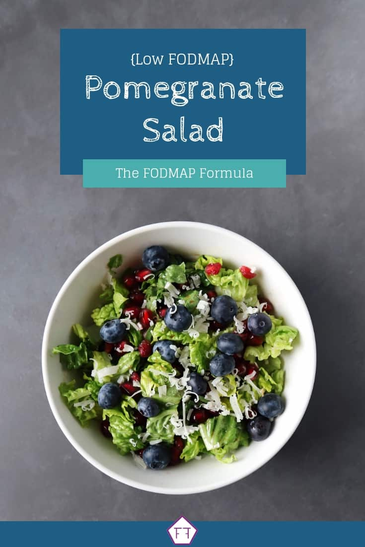 Low FODMAP Pomegranate Salad in bowl with text overlay saying same