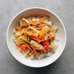 Low FODMAP Red Curry in white bowl on grey surface - 800 x 800