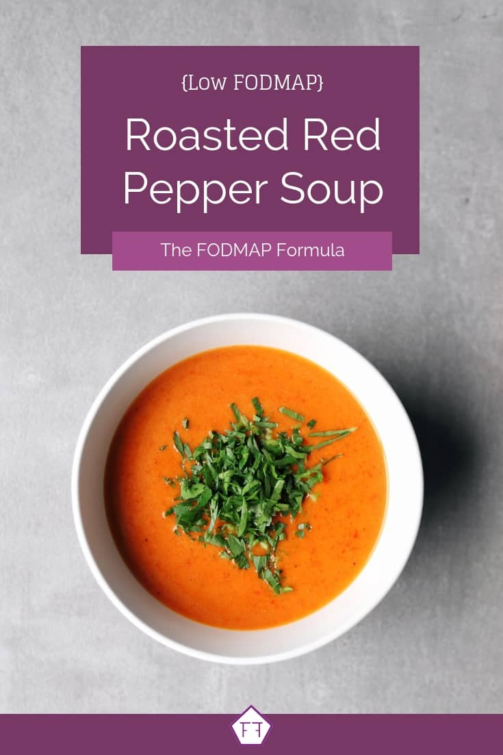 Low FODMAP Roasted Red Pepper Soup in white bowl on grey surface - Pinterest 1